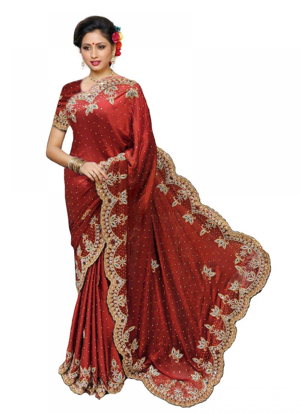Maroon Georgette Satin Wedding Traditional Designer Saree