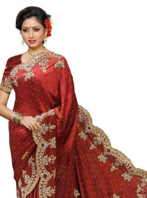 Maroon Georgette Satin Wedding Traditional Designer Saree