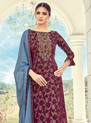 Maroon Jacquard Palazzo Suit