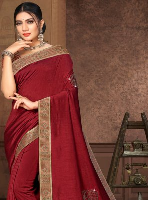 Maroon Lace Silk Contemporary Saree