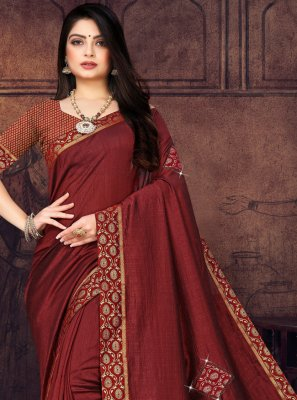 Maroon Lace Silk Traditional Saree
