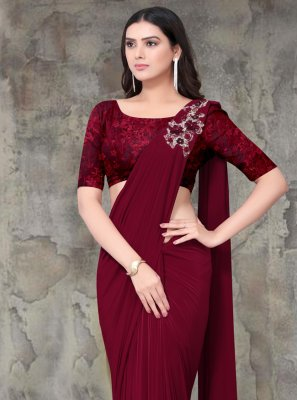 Maroon Lycra Party Trendy Saree