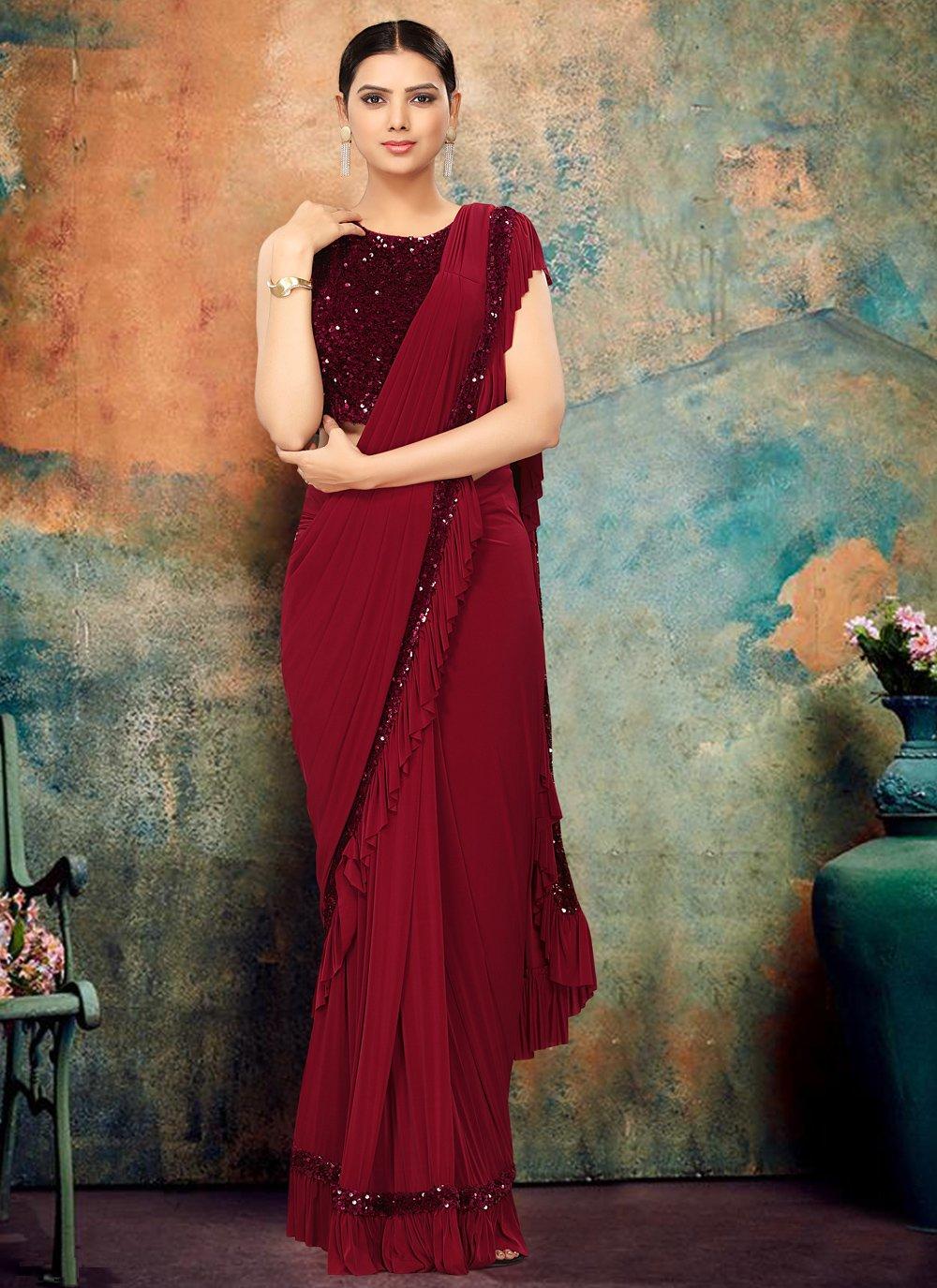 Maroon Lycra Sequins Bollywood Saree