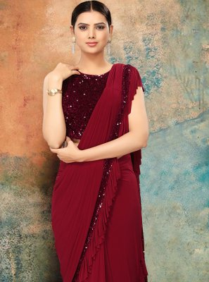Maroon Lycra Sequins Bollywood Saree