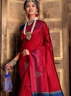 Maroon Mehndi Silk Traditional Designer Saree