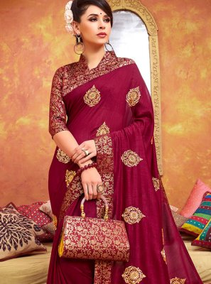 Maroon Mehndi Traditional Designer Saree