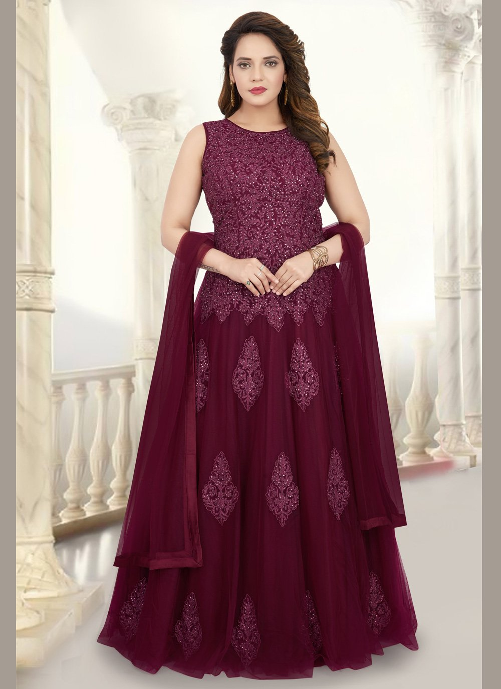 Maroon Net Embroidered Readymade Anarkali Suit