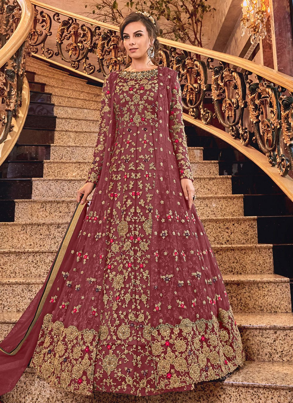 Maroon Net Reception Anarkali Salwar Kameez