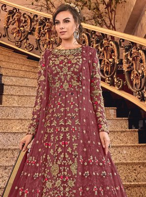 Maroon Net Reception Anarkali Salwar Kameez