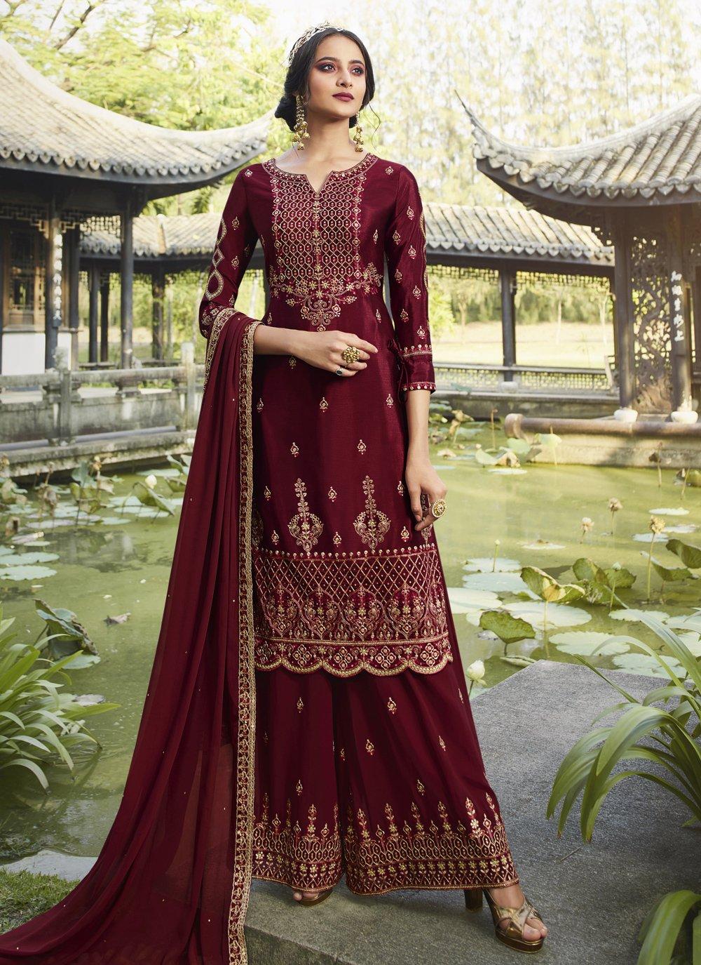 Maroon Party Designer Palazzo Salwar Suit