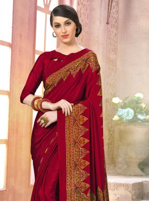 Maroon Party Printed Saree