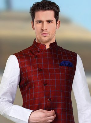Maroon Party Rayon Nehru Jackets
