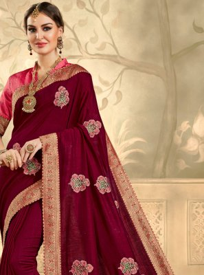Maroon Party Silk Trendy Saree