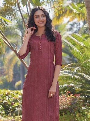 Maroon Plain Cotton Designer Kurti