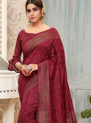 Maroon Print Art Silk Traditional Saree