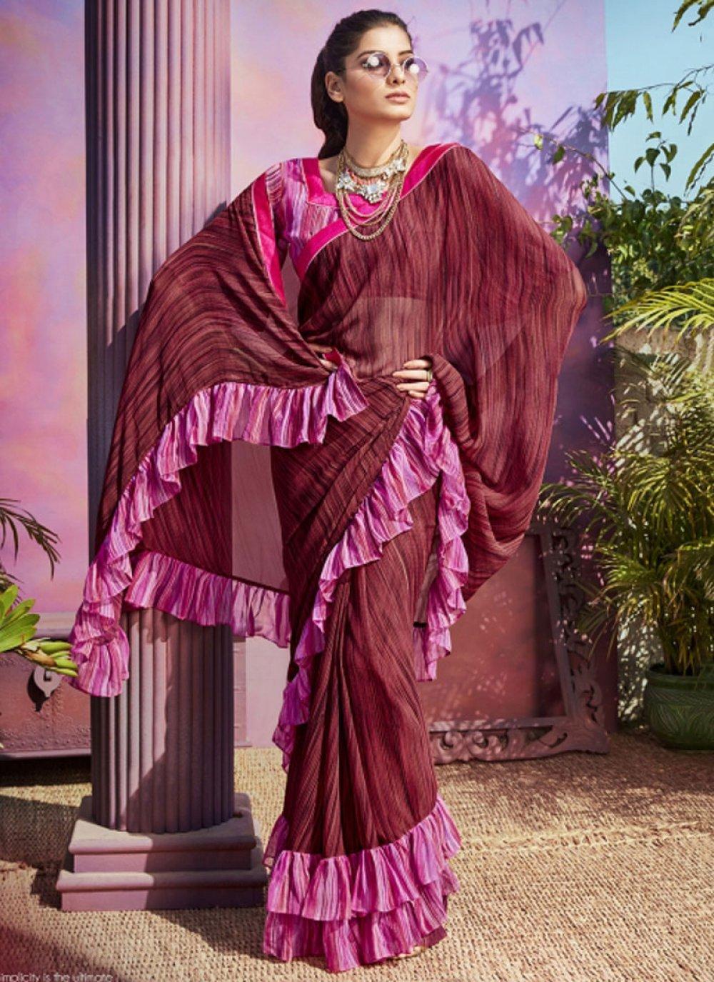 Maroon Printed Casual Saree