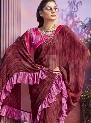 Maroon Printed Casual Saree