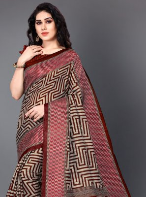 Maroon Printed Silk Casual Saree