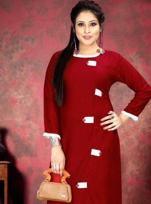 Maroon Rayon Party Casual Kurti