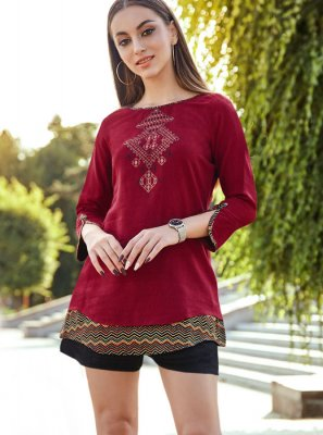 Maroon Rayon Party Wear Kurti