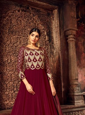Maroon Reception Anarkali Salwar Suit