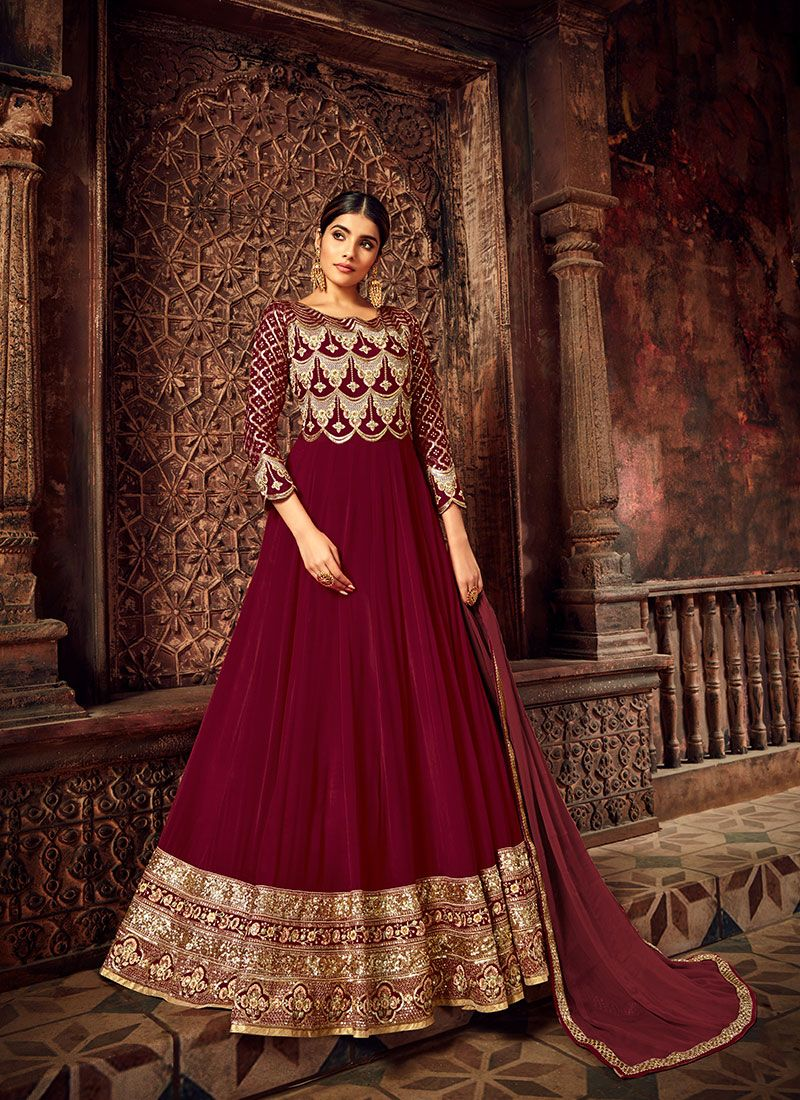 Maroon Reception Anarkali Salwar Suit