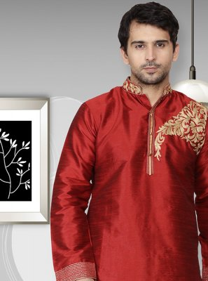 Maroon Reception Art Dupion Silk Kurta