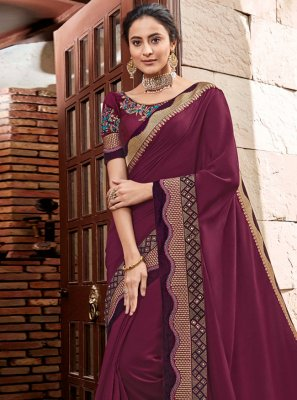 Maroon Reception Georgette Satin Classic Designer Saree