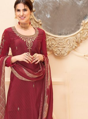 Maroon Reception Salwar Suit