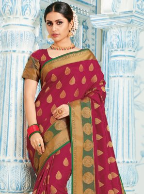 Maroon Reception Silk Designer Saree