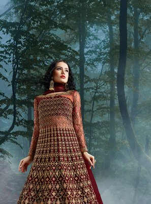 Maroon Resham Ceremonial Floor Length Anarkali Suit