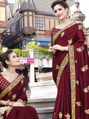 Maroon Resham Festival Designer Saree