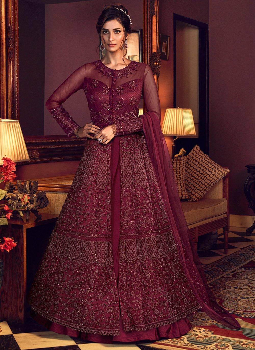 Maroon Resham Floor Length Anarkali Salwar Suit