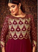 Maroon Resham Georgette Salwar Suit