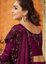 Maroon Resham Satin Contemporary Saree