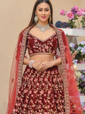 Maroon Resham Wedding Lehenga Choli