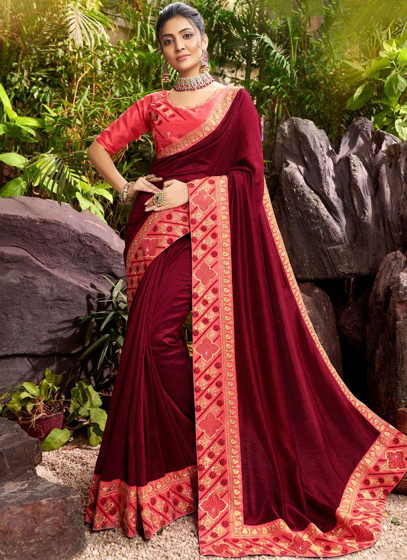 Maroon Sangeet Designer Saree