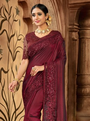 Maroon Satin Traditional Saree