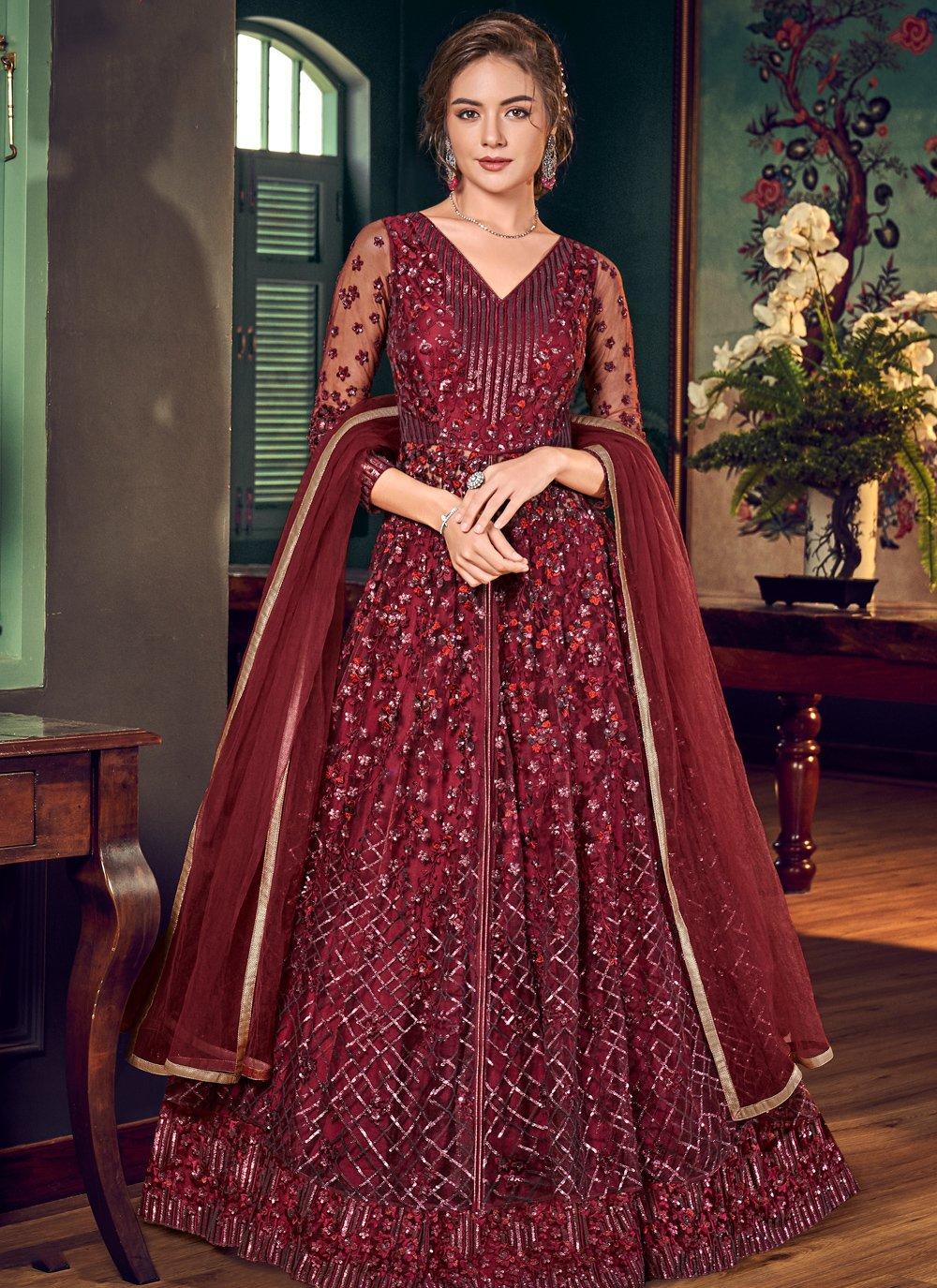 Maroon Sequins Fancy Fabric Bollywood Salwar Kameez