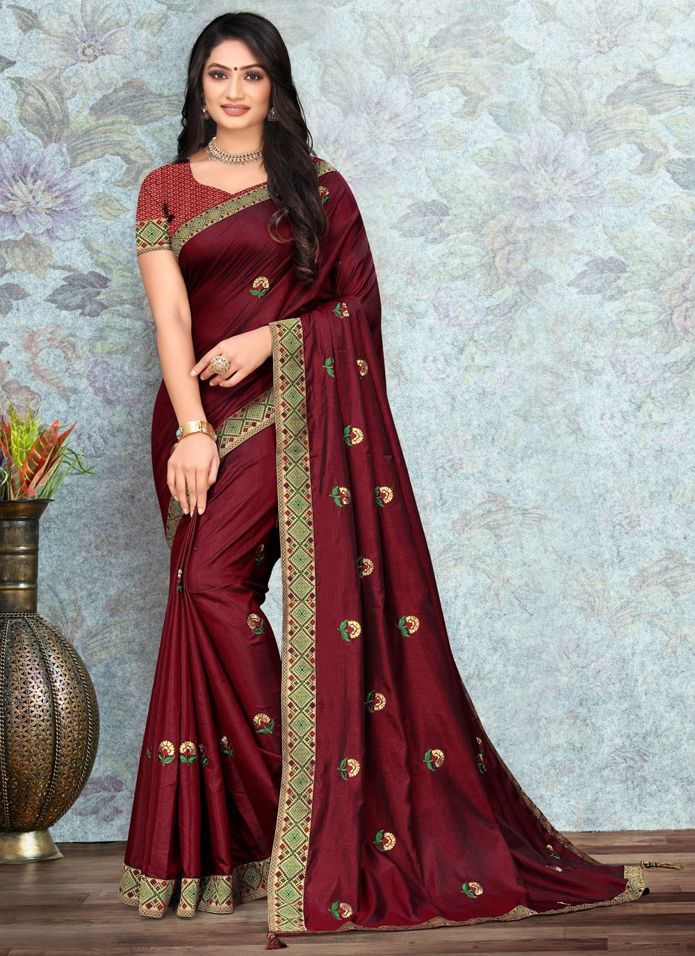 Maroon Silk Lace Casual Saree