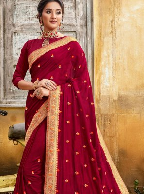 Maroon Silk Party Classic Saree