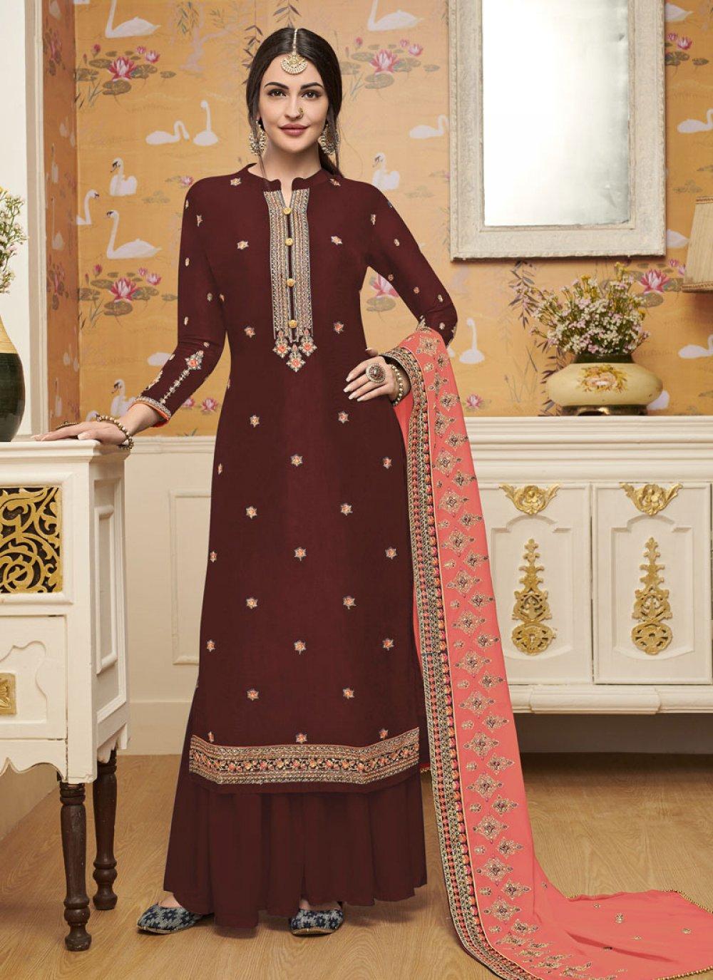 Maroon Silk Salwar Suit