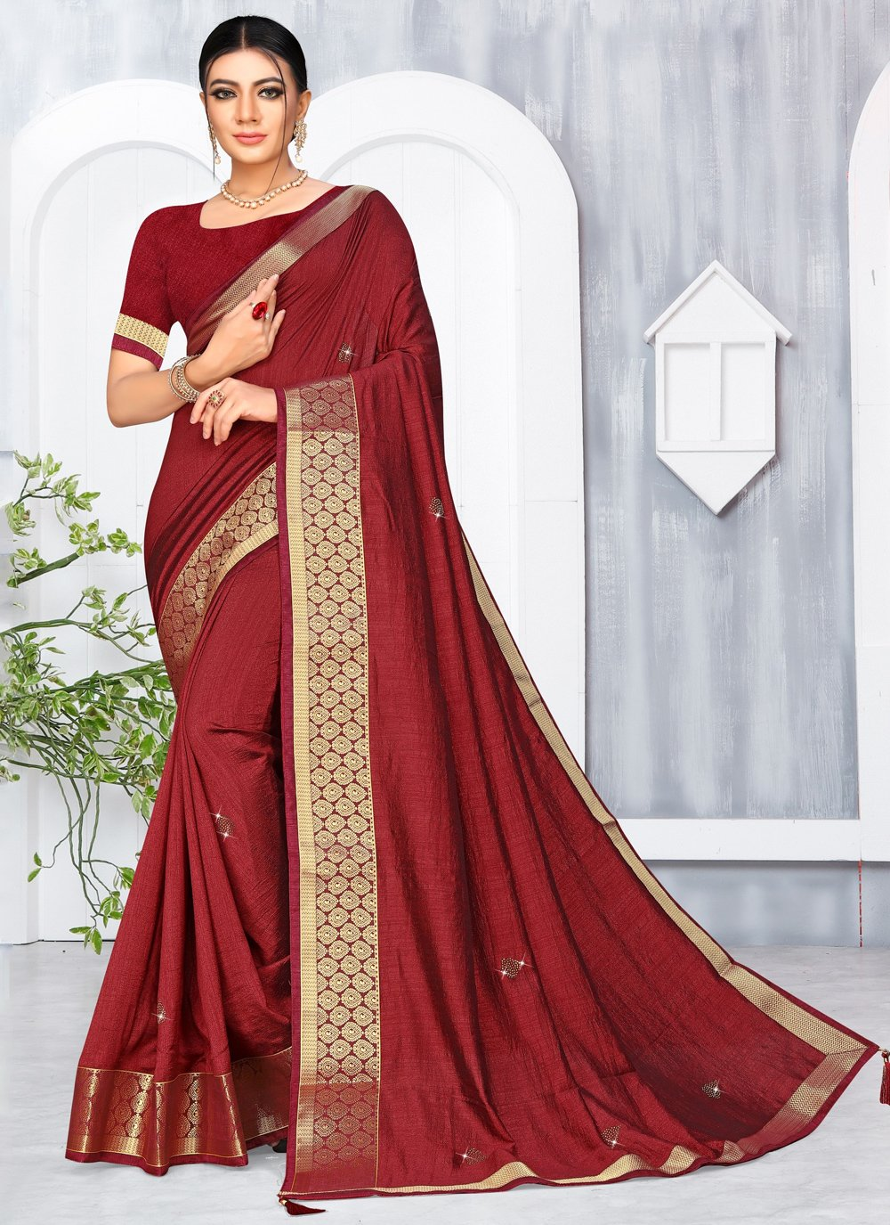Maroon Stone Party Bollywood Saree