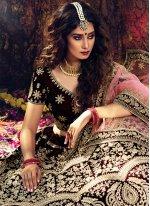 Maroon Stone Velvet Designer Lehenga Choli