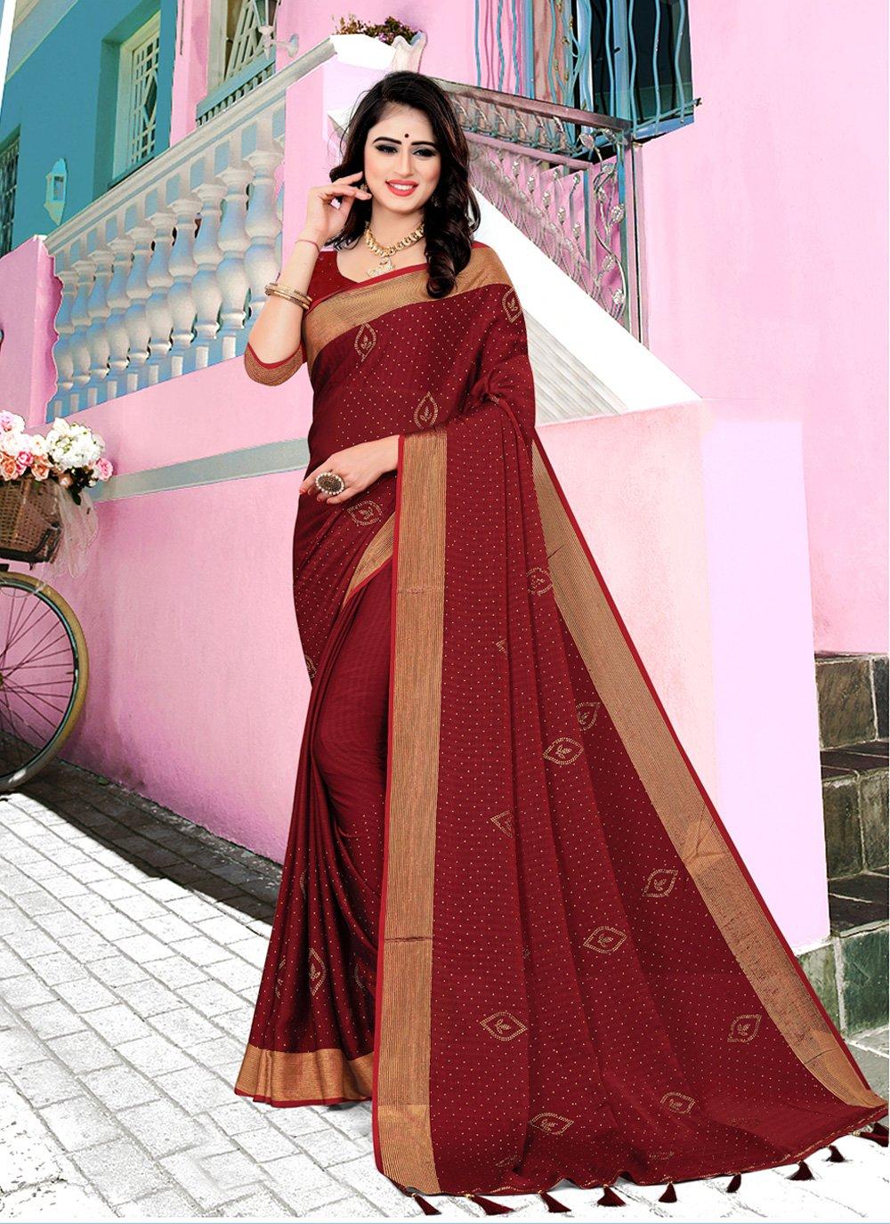 Maroon Swarovski Satin Silk Contemporary Saree