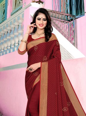 Maroon Swarovski Satin Silk Contemporary Saree