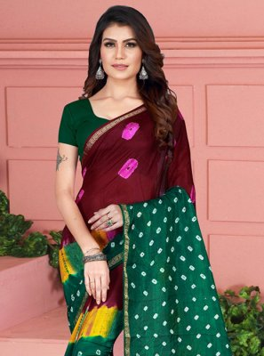 Maroon Tafeta Silk Casual Saree