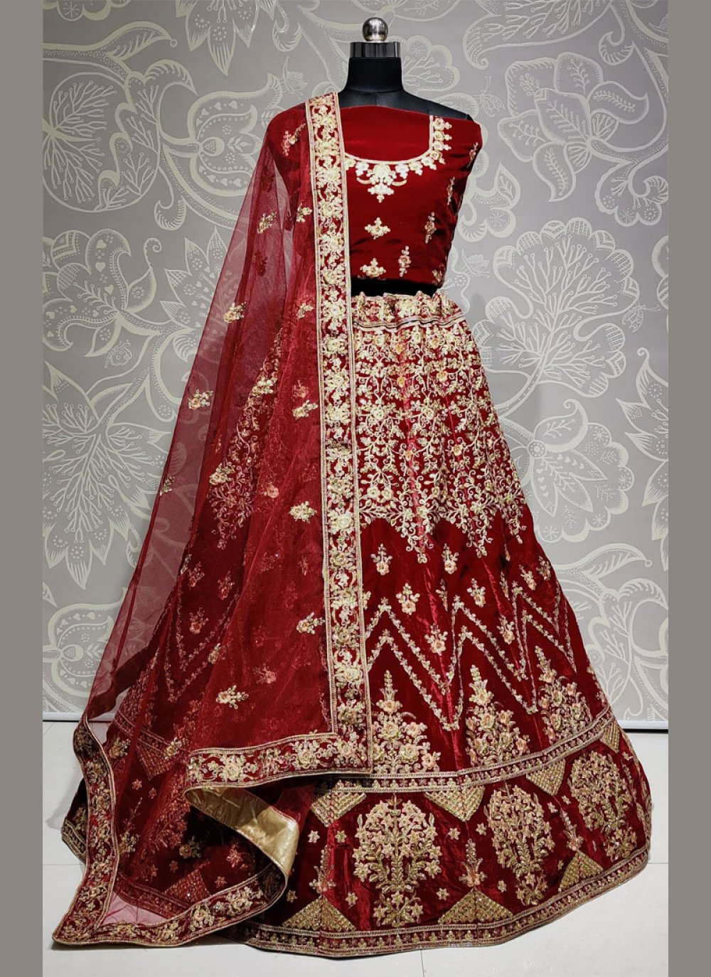 Maroon Velvet Embroidered Designer Lehenga Choli