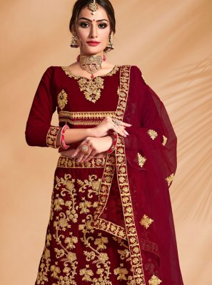 Maroon Velvet Patch Border A Line Lehenga Choli