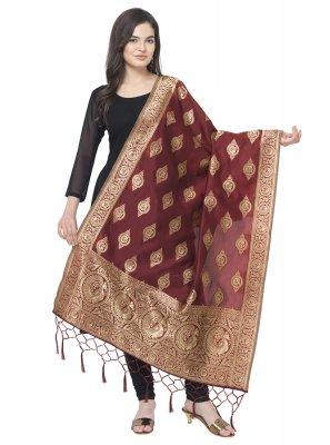 Maroon Weaving Art Banarasi Silk Designer Dupatta